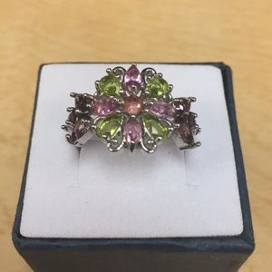 Jewelry - Amethyst Peridot and Pink Topaz Ring Size 7